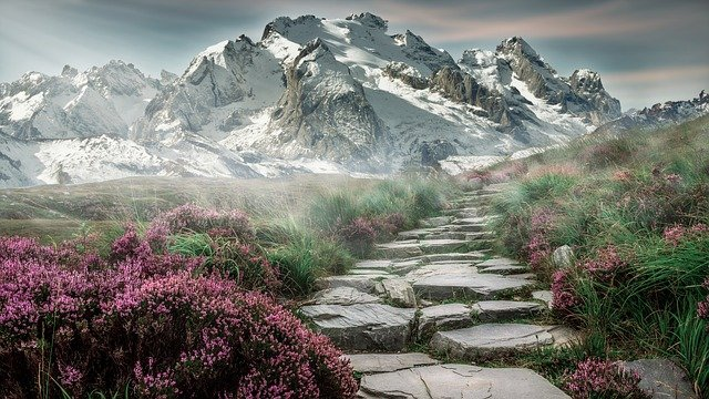高く聳える山