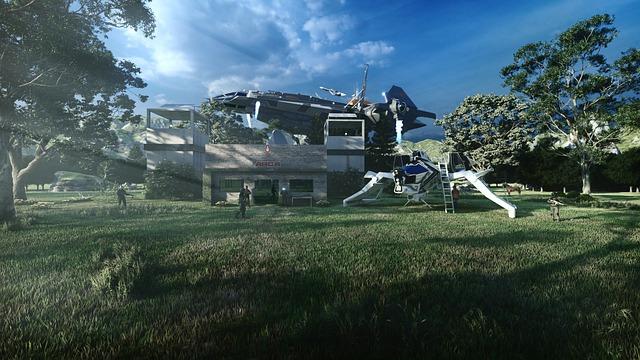 ゲームの中にある近未来的な風景