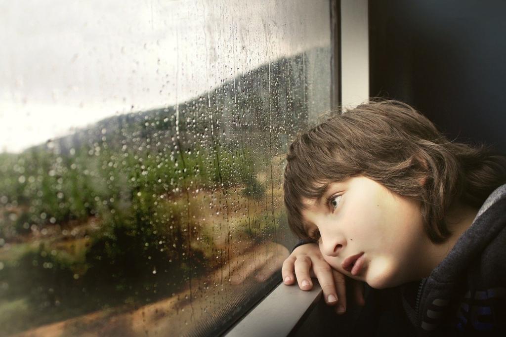 窓の外をぼんやり見る悲しそうな男の子