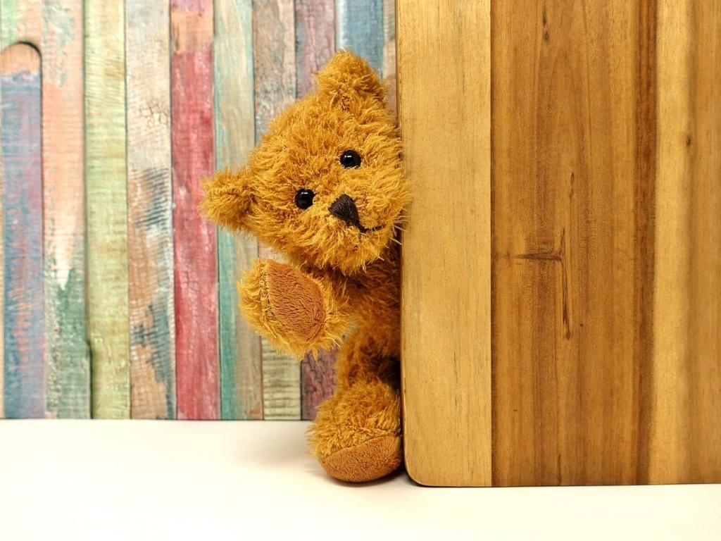 扉から覗くクマのぬいぐるみ